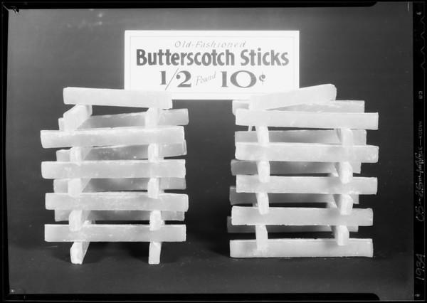 Old-fashioned butterscotch sticks, Southern California, 1934