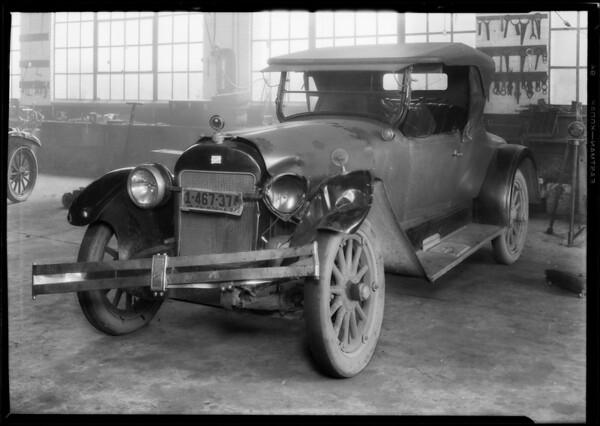 Auto at Los Angeles automotive shops, Los Angeles, CA, 1928