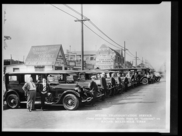 Studio Transportation cars & trucks equipped with Racine tires, Bushon Tire Co., Los Angeles, CA, 1928