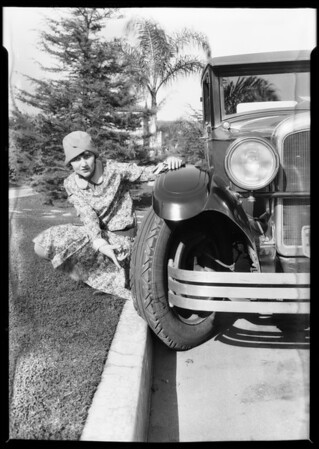 Tire abuse - Lois Woody, Southern California, 1928