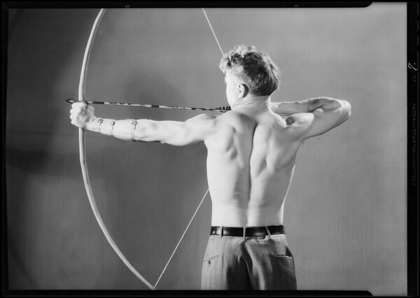 Bow and arrow poses, Southern California, 1930