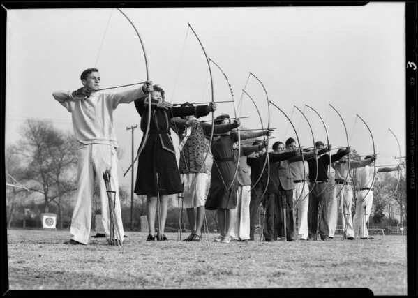Archery at Griffith Park, Mr. Beeson, Instructor, Los Angeles, CA, 1930