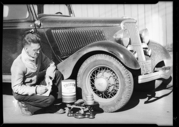 Joe Nikrent testing oils for the Pennzoil laboratories, Southern California, 1934