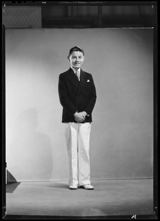 Full length portrait of boy, Southern California, 1940