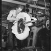 Chamber of Commerce magazine cover, Tire making at Ford factory, Southern California, 1934
