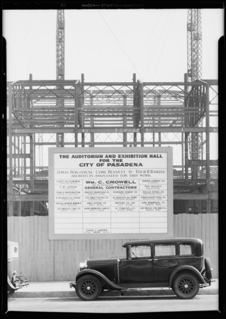 Sign board in front of Municipal Hall, Pasadena, CA, 1931