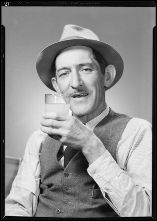 Portraits of characters drinking juice, Southern California, 1934
