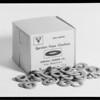 Can & box of washers, Southern California, 1934