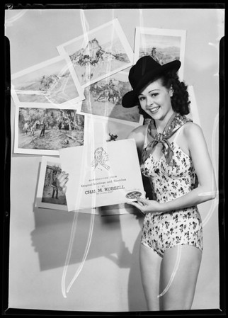 Publicity shots with model, Southern California, 1940