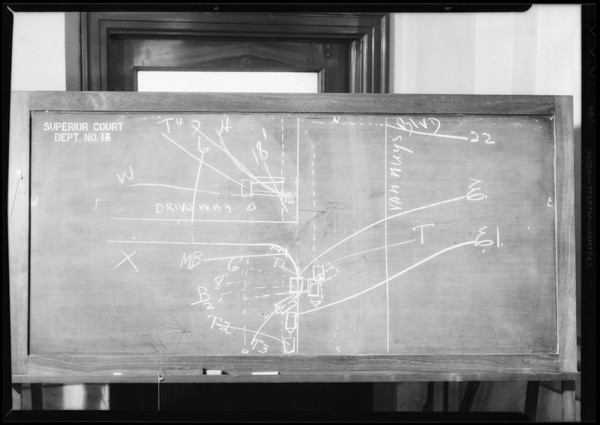 Blackboard - Department 4 - Superior Court, Van Nuys Boulevard, Southern California, 1934