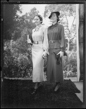 Snow outfit and college fashions, Southern California, 1934