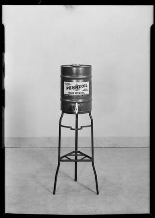 Oil cans, grease guns, etc, Pennzoil, Southern California, 1930