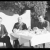 Harry Sinclair and party eating breakfast, Ambassador Hotel, Los Angeles, CA, 1934
