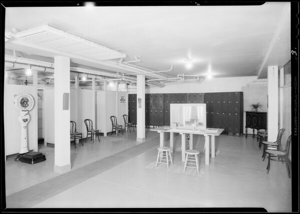 Interiors of club rooms etc, Physical Culture Club, Southern California, 1930