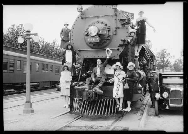 Union Pacific train and showgirls, Charles Bird, Southern California, 1926