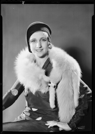 Retake on pajamas, fur, waffle iron, Broadway Department Store, Southern California, 1930