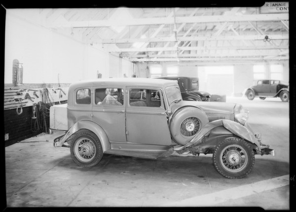 Wrecked Plymouth, Liberty Auto Works, Southern California, 1934