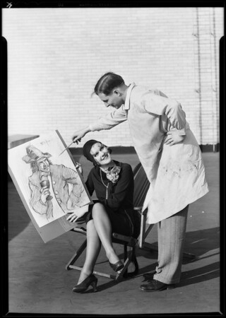 Girls with drawings, Southern California, 1930