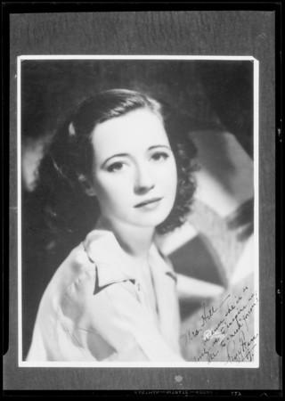 Portraits of movie stars, Southern California, 1934
