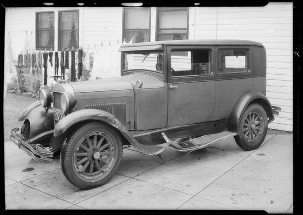Chevrolet, Bernice Yost, owner & assured, Essex coach, S. Baufield, owner, Southern California, 1934