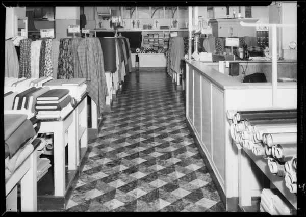 Fabric department, May Company basement, Southern California, 1934