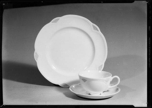 Cup, saucer, and plate for Thanksgiving, Southern California, 1934