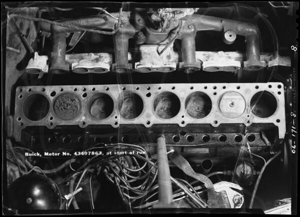 Motor heads- Buick, Studebaker, Dodge, start of test, Southern California, 1940
