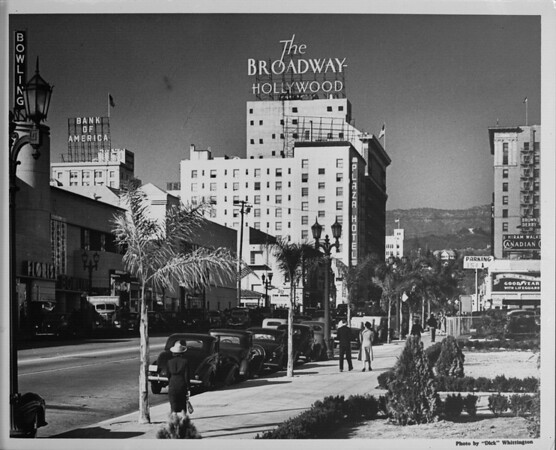 Looking down Hollywood Boulevard in between the intersections of Cahuenga Boulevard and Vine Street