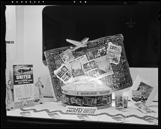 United airlines ticket office, magazine carpet tie-up, Southern California, 1940