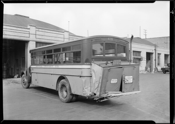 Greyhound bus in accident, Southern California, 1930