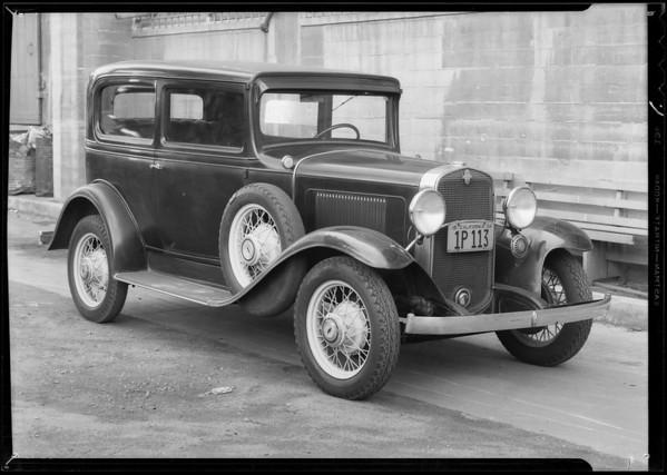 Chevrolet sedan, Metropolitan Casualty, Southern California, 1934