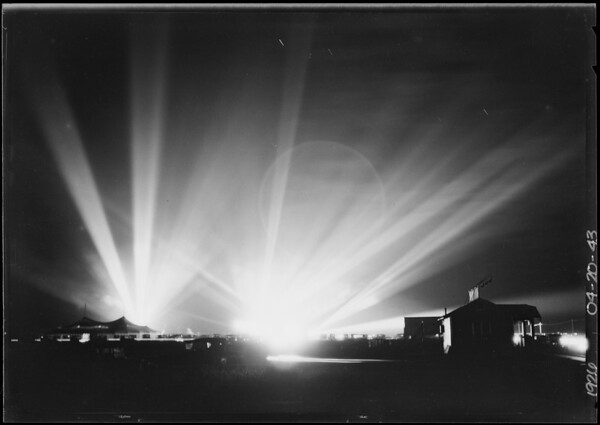 Search lights at Manchester Square, Southern California, 1926