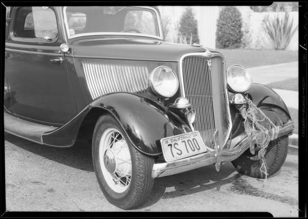Case of Judge Craig vs. Wallace, Ford belonging to Judge Craig, Southern California, 1934