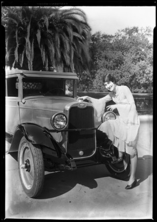 Chevrolet Cabriolet & Georgia Brazelle, Southern California, 1928