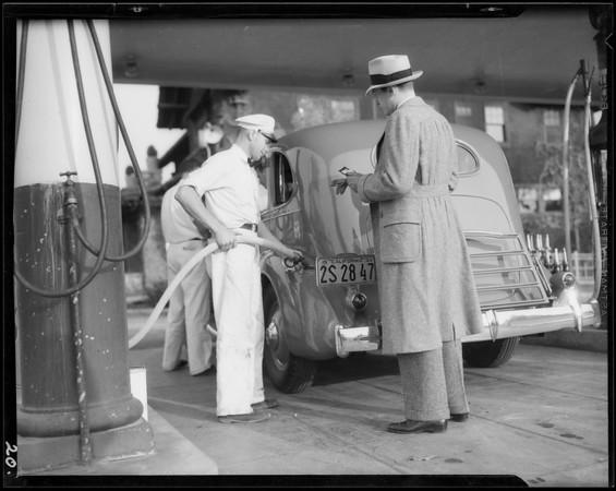 Candid camera shots of fall fashions for men, Southern California, 1934