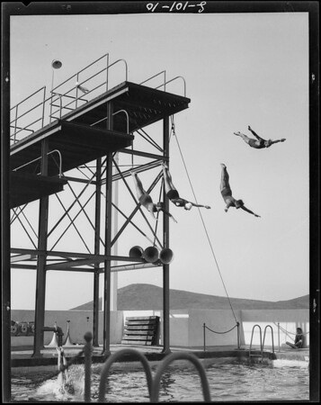 Swimming shots at pool, Southern California, 1928