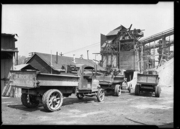 Trucks at L.A. Rock & Gravel, Southern California, 1925