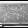 Blackboard of intersection, Hyperion Avenue & Fountain Avenue, Southern California, 1934