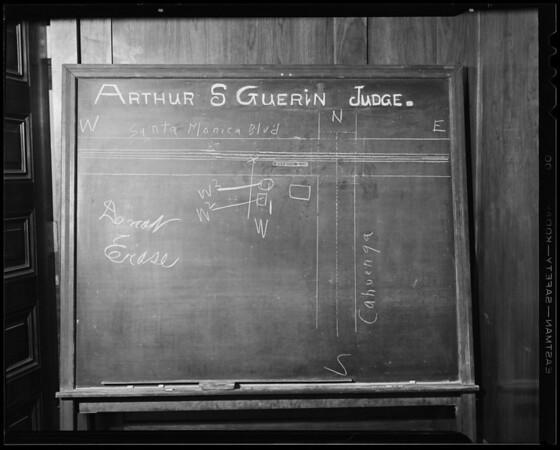 Blackboard - diagram of Cahuenga Boulevard and Santa Monica Boulevard, Southern California, 1940