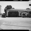 Sloping driveway of Associated Oil station, Wilshire Boulevard and North Santa Monica Boulevard, Beverly Hills, CA, 1940