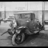 Wrecked Ford roadster, 1W4489, owner Richard Moyer, at Master Service Garage, 811 Whittier, Southern California, 1931