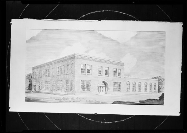 Architect's drawing of Patterson Ballagh Building, Southern California, 1930