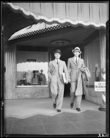 Candid camera shots of fall fashions for men, Southern California, 1934
