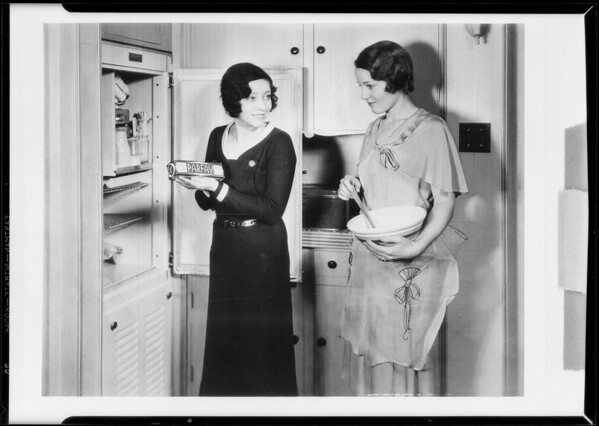 Girls & refrigerator, Swift & Co., Southern California, 1930