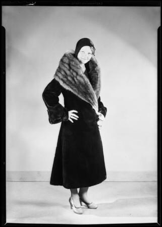 Seal skin coat, May Co., Southern California, 1930