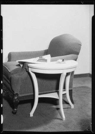 Furniture for statement insert, Broadway Department Store, Los Angeles, CA, 1935