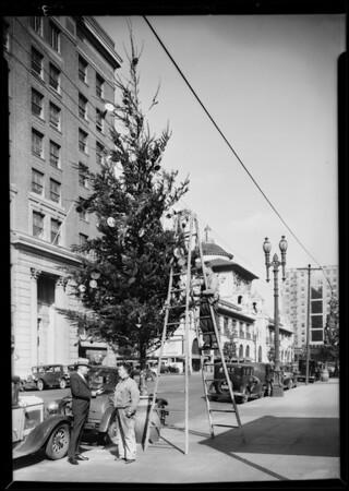 Christmas trees on Broadway, Los Angeles, CA, 1930