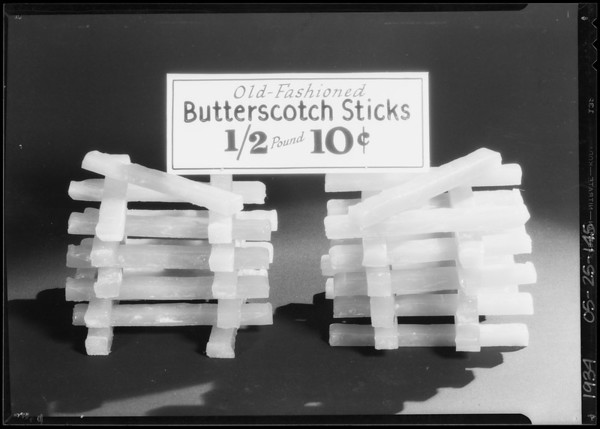 Old-fashioned butterscotch sticks, Southern California, 1934