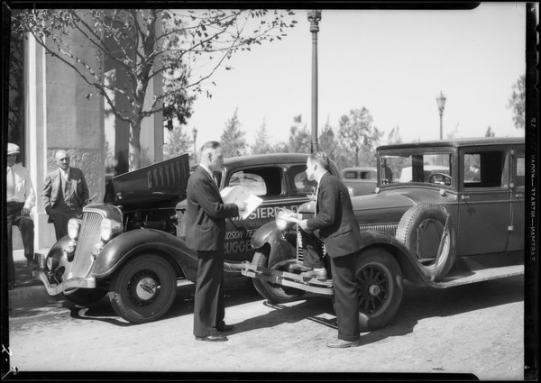 "Terraplane ""Sierra Flyer"" and old Hudson, Beverly Hills, CA, 1934"