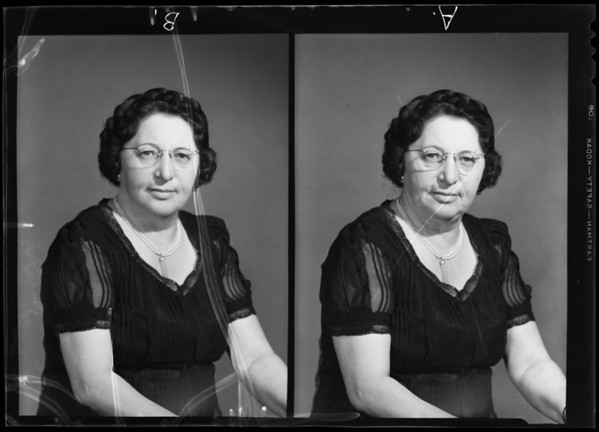Portrait of Mrs. J. A. Rosencranz, Southern California, 1940